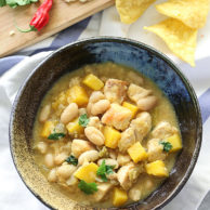Easy White Bean Chicken Chili on foodiecrush.com