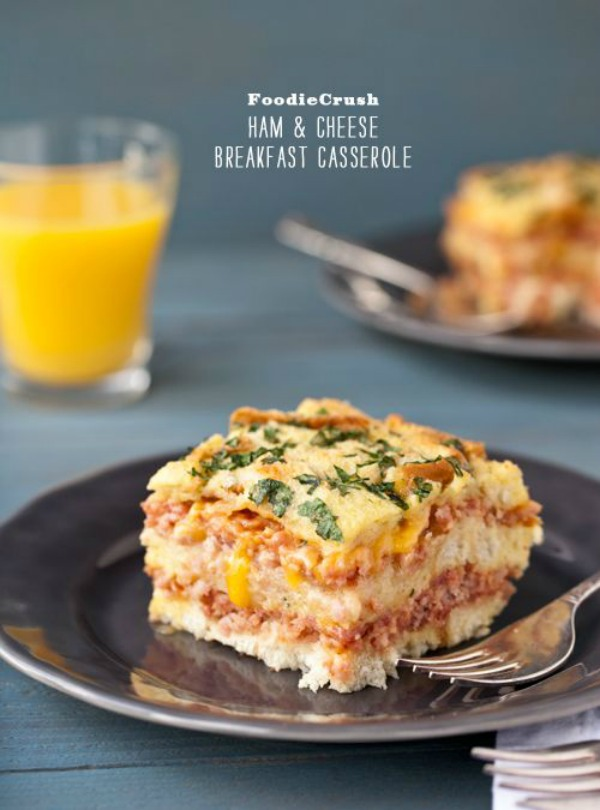 Ham and Cheese Breakfast Souffle Casserole from foodiecrush.com on foodiecrush.com