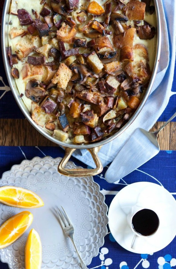 Strata with Mushrooms, Sweet Potato and Bacon from fiveandspice.com on foodiecrush.com