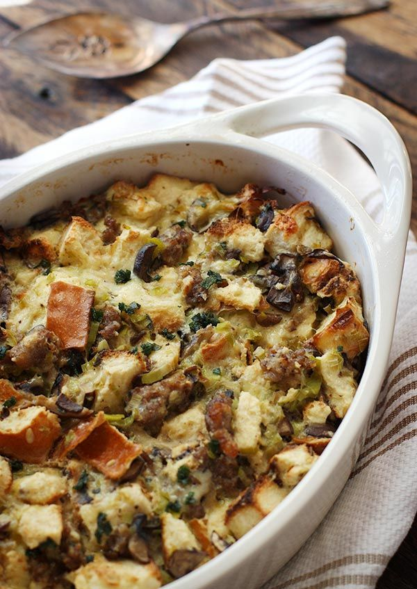 Wild Mushroom Bread Pudding with Sausage and Gruyere from soupaddict.com on foodiecrush.com
