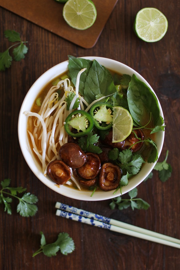 30 Minute Vegetarian Pho Soup from The Roasted Root featured on foodiecrush.com