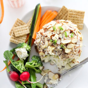 Light and Easy Green Onion and Almond Cheese Ball | foodiecrush.com