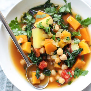 Moroccan Soup with Kale and Chickpeas on foodiecrush.com