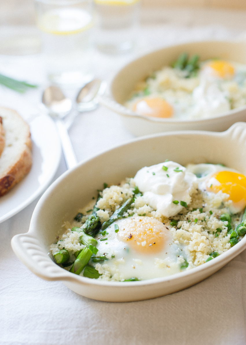 Baked Eggs with Asparagus and Peas | www.kitchenconfidante.com
