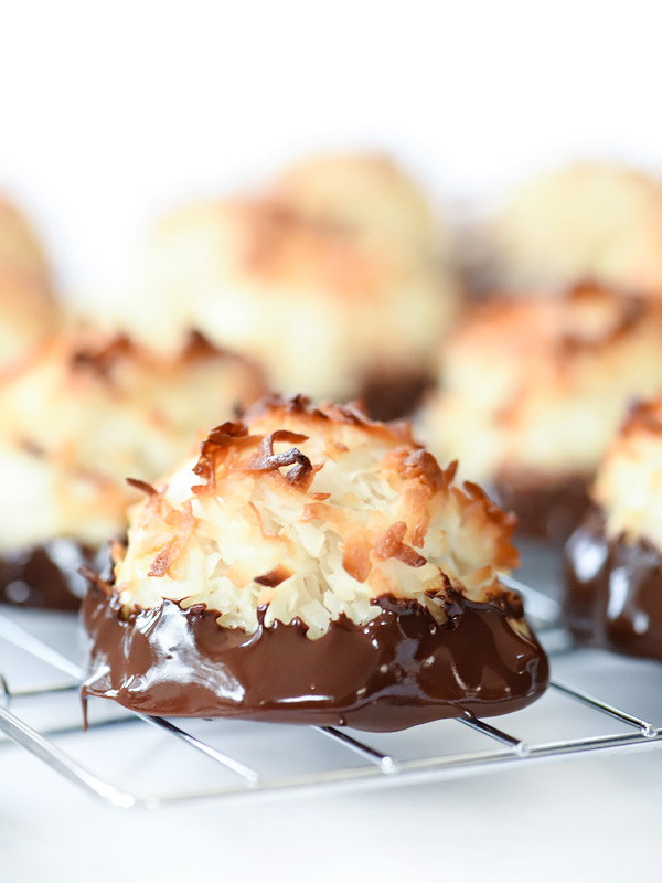 Chocolate Dipped Coconut Macaroons - foodiecrush