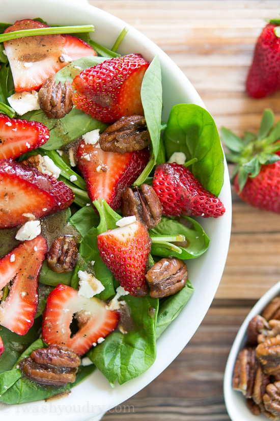 Strawberry Spinach Salad with Candied Pecans from iwashyyoudry.com | foodiecrush.com