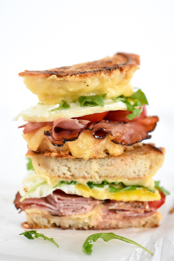 Ham and Smoked Gouda Grilled Cheese Breakfast Sandwich   foodiecrush.com