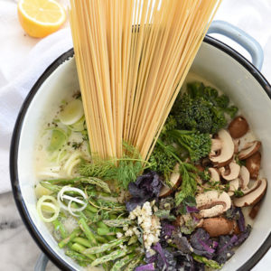 One-Pot Skinny Pasta Primavera | foodiecrush.com
