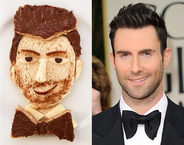 Adam Levine as food art by Marie Saba on foodiecrush.com