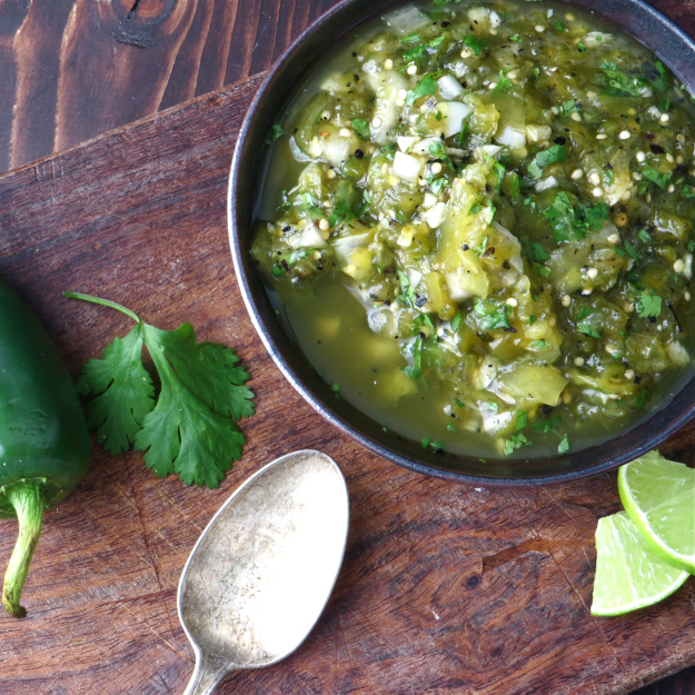Charred Salsa Verde from GarlicandZest.com | foodiecrush.com