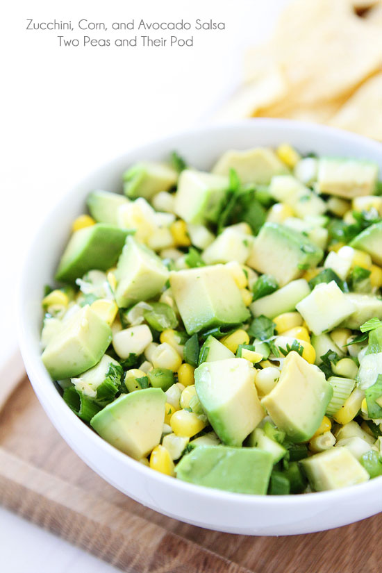 Zucchini Corn and Avocado Salsa twopeasandtheirpod.com | foodiecrush.com