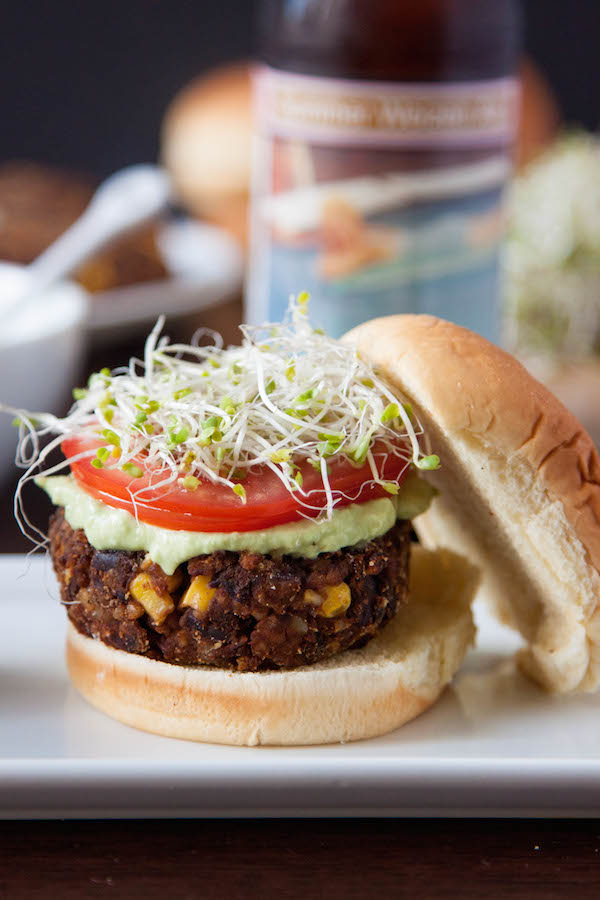 Chipotle Black Bean Freekeh Sliders with Avocado Lime Crema from thecornerkitchenblog.com on foodiecrush.com