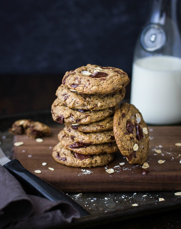 Chocolate Chip Almond Butter Cookies with Buckwheat, Maple, and Oats from thebojongourmet.com on foodiecrush.com