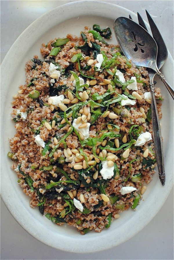Bulgur Salad with Spinach, Pine Nuts and Asparagus from bevcooks.com on foodiecrush.com