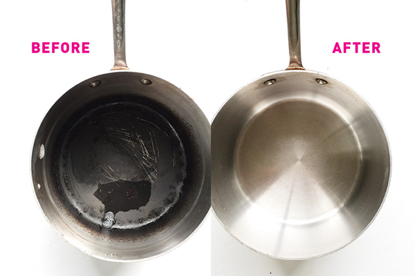 how to clean burnt pots