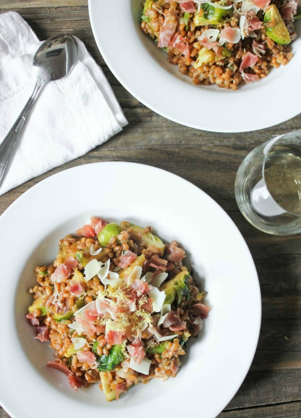 Farro Risotto with Prosciutto, Parmesan and Brussels Sprouts from domesticate-me.com on foodiecrush.com