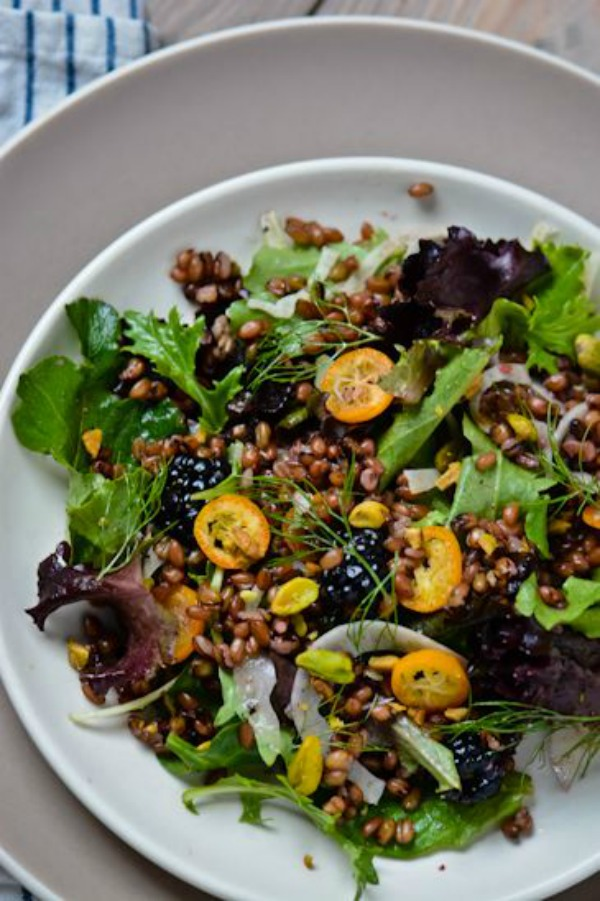 Freekeh Salad with Blackberry Ginger Vinaigrette from scalingbackblog.com on foodiecrush.com
