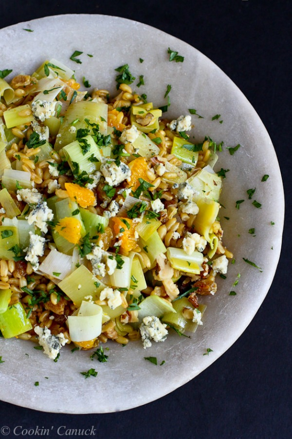 Kamut Salad with Oranges, Leeks & Blue Cheese from cookincanuck.com on foodiecrush.com