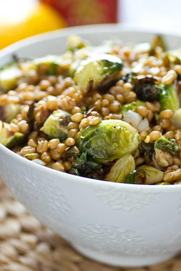 Lemony Wheat Berries with Roasted Brussels Sprouts from ohmyveggies.com on foodiecrush.com