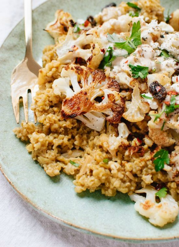 Roasted Cauliflower, Freekeh and Garlicky Tahini Sauce from cookieandkate.com on foodiecrush.com