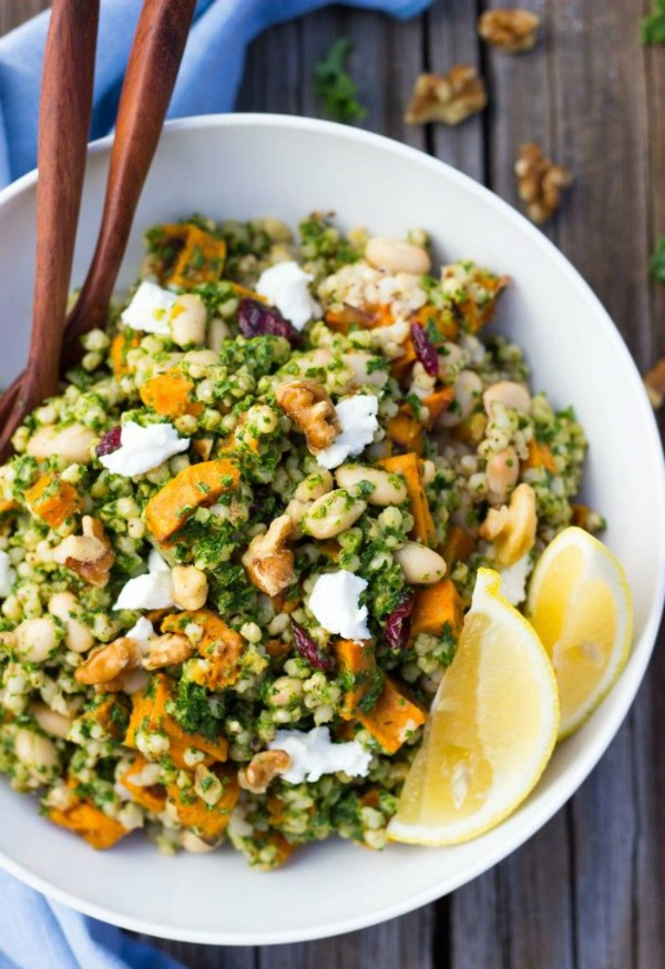 Sorghum, Sweet Potato & White Bean Salad with Kale Pesto from shelikesfood.com on foodiecrush.com