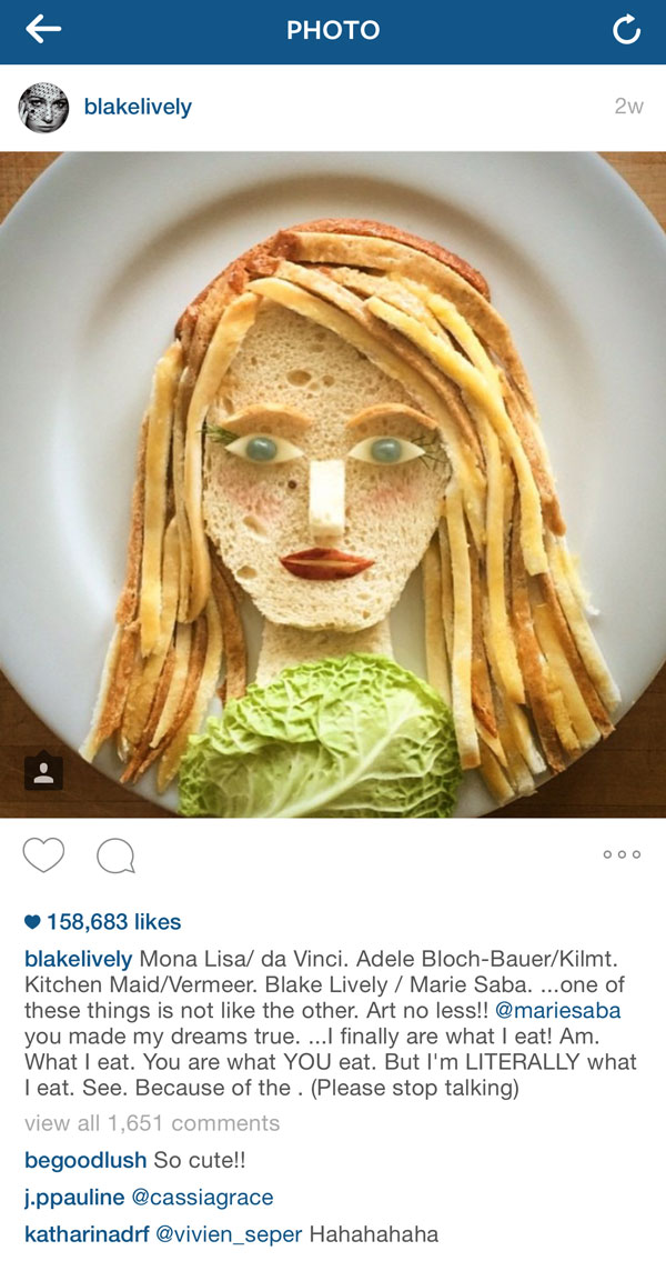 Blake Lively as Food Art by Marie Saba on foodiecrush.com