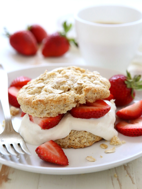 Breakfast Strawberry Shortcakes by Completely Delicious on foodiecrush.com