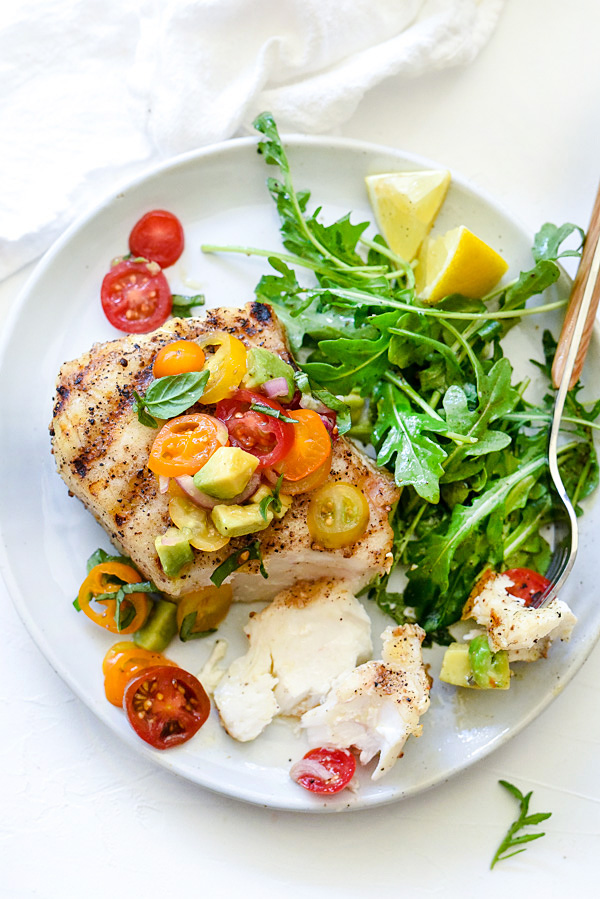 Grilled Halibut with Tomato Avocado Salsa - foodiecrush