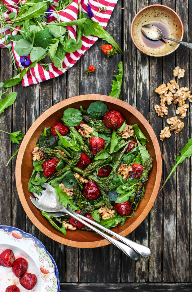 Spinach Salad with Grilled Strawberries, Asparagus & Walnuts by Simple Bites on foodiecrush.com