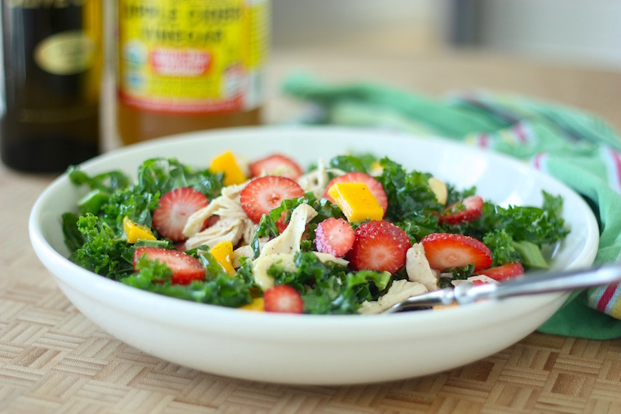 Strawberry and Mango Kale Salad by Project Domestication on foodiecrush.com