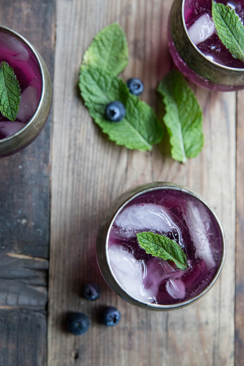 Blueberry Mint Gin Cocktail by Vintage Mixer on foodiecrush.com