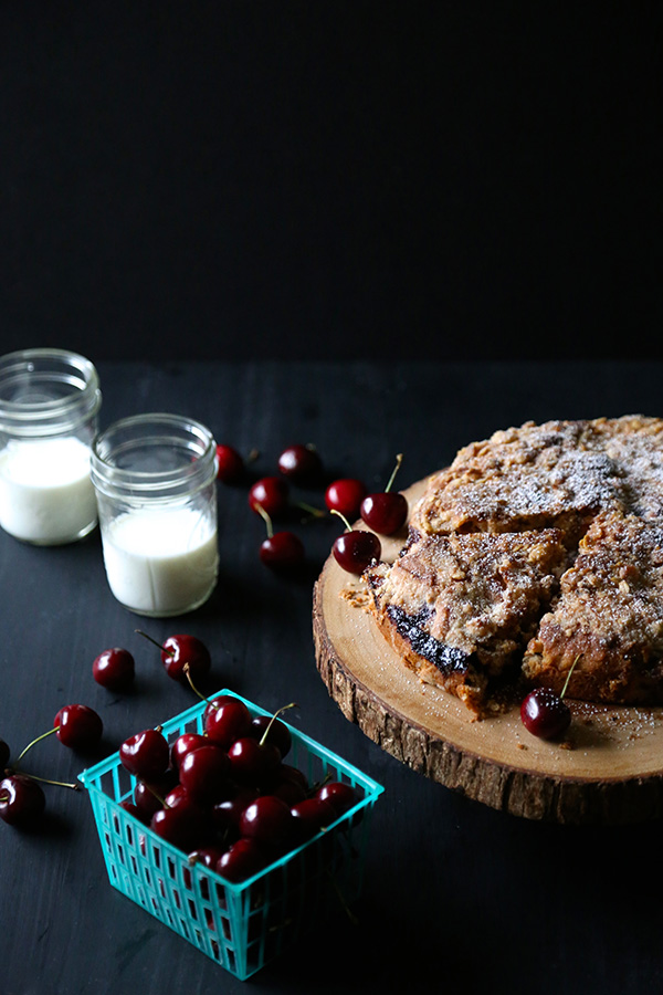 Chocolate Cherry Cake with Chocolate Oat Streusel by Climbing Grier Mountain on foodiecrush.com