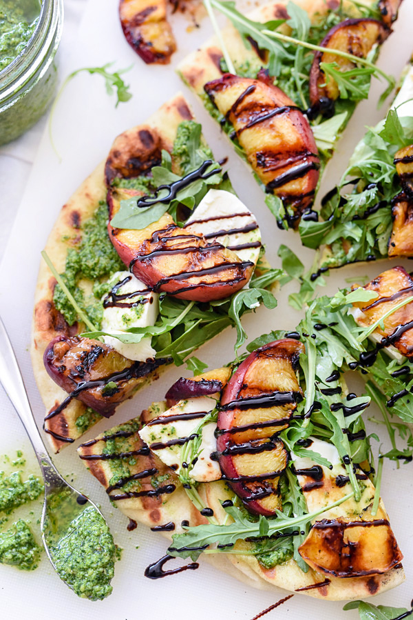 Grilled Flatbread with Peaches and Arugula Pesto foodiecrush.com
