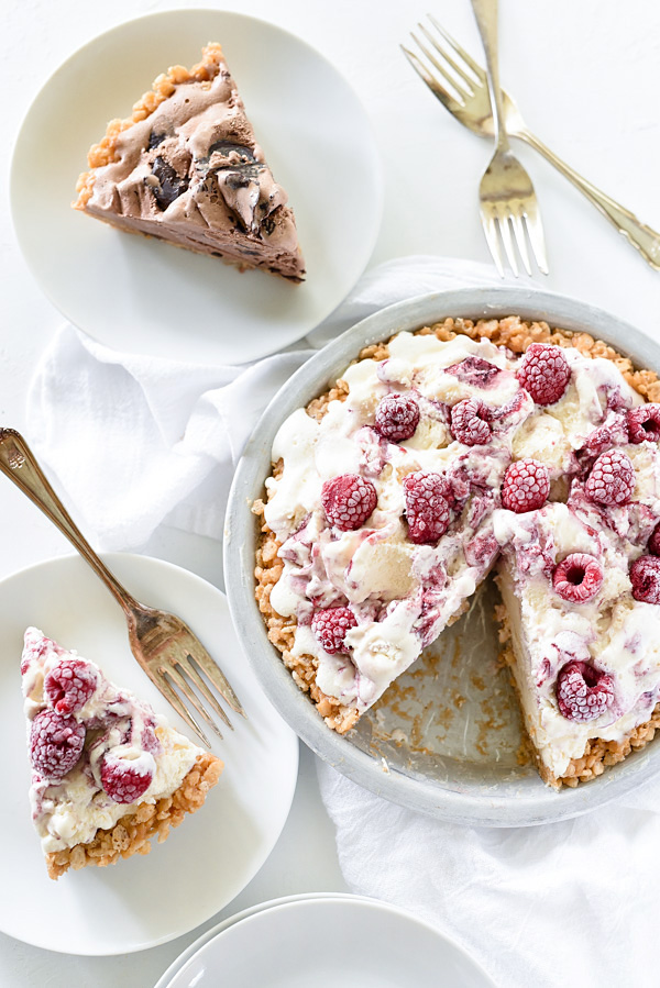 4 Ingredient Ice Cream Pie with Peanut Butter Krispie Crust | foodiecrush.com