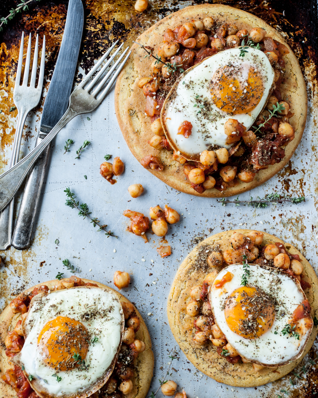 Spicy Chickpeas and Fried Egg Flatbread from DishingUptheDirt.com on foodiecrush.com