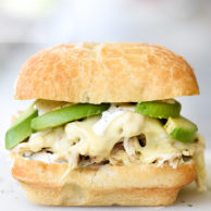 Pulled Chicken Sandwich with Ranch Sauce | foodiecrush.com