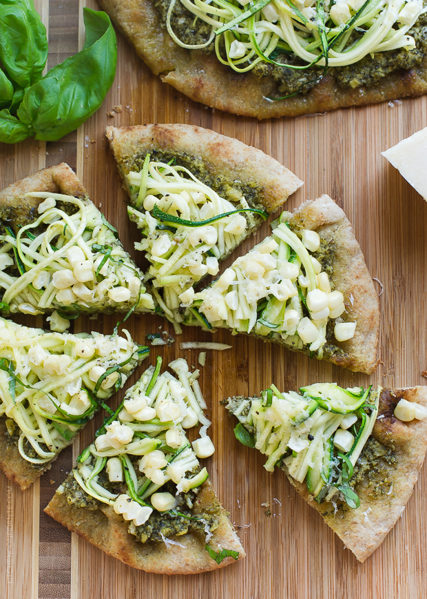 Zucchini Corn and Pesto Flatbreads | www.kitchenconfidante.com