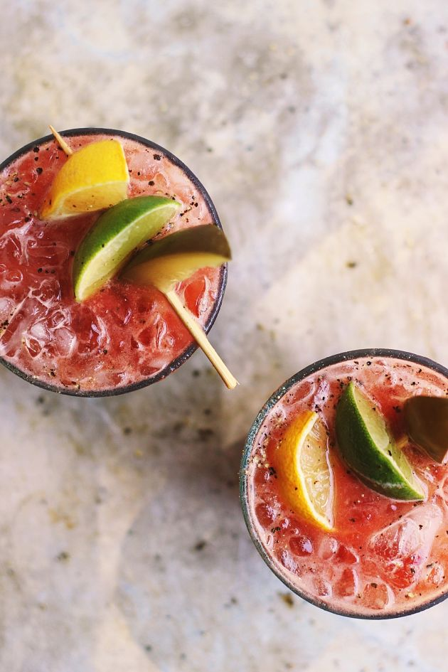 Fresh Heirloom Bloody Marys with Old Bay + Spicy Pickles from With Food + Love | foodiecrush.com