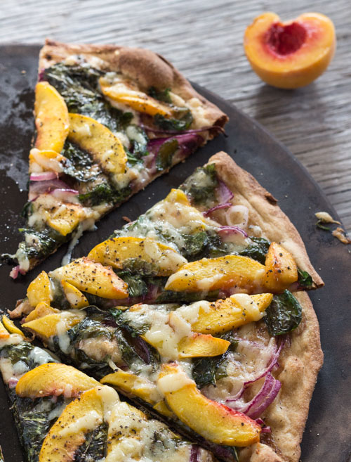Peach and Arugula Pizza by Letty's Kitchen | foodiecrush.com