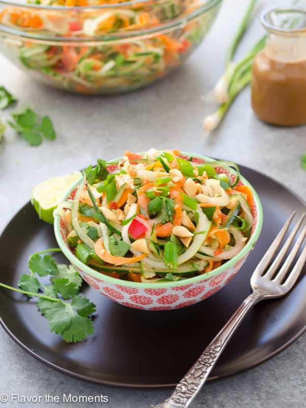 Thai Carrot Cucumber Noodle Salad with Peanut Lime Dressing by Flavor the Moments | foodiecrush.com