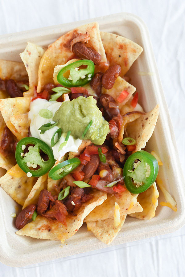 Nachos topped with chili and cheese are just one way to put your leftovers to work   foodiecrush.com