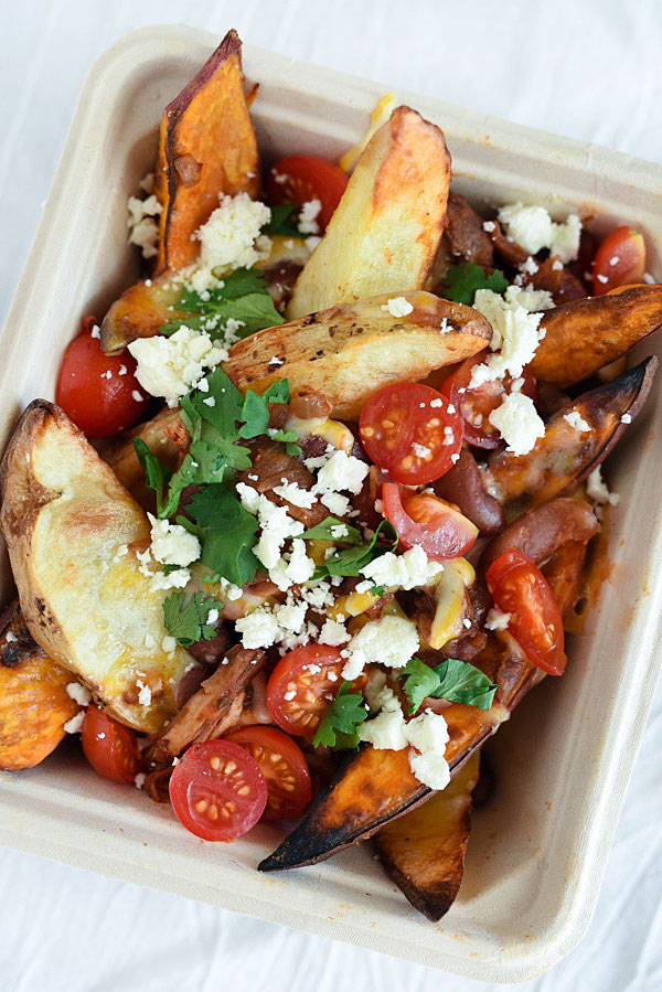 Potato wedges topped with chili and cheese are just one way to put your leftovers to work   foodiecrush.com