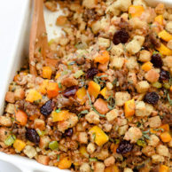 Farro, Butternut Squash, Sausage and Dried Cherry Stuffing | foodiecrush.com