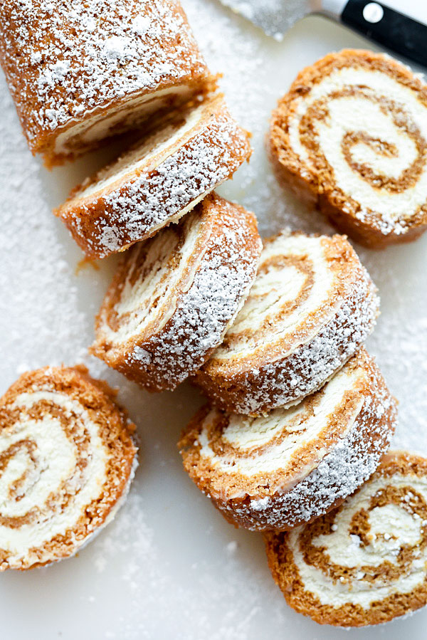 My Favorite Pumpkin Roll recipe with or without nuts | foodiecrush.com