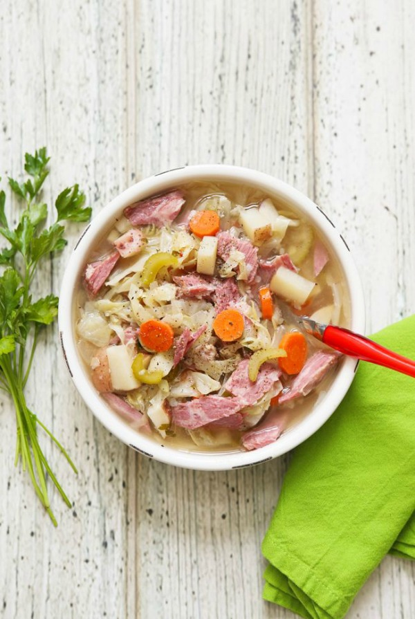 Crockpot Corned Beef and Cabbage Soup from pipandebby.com on foodiecrush.com