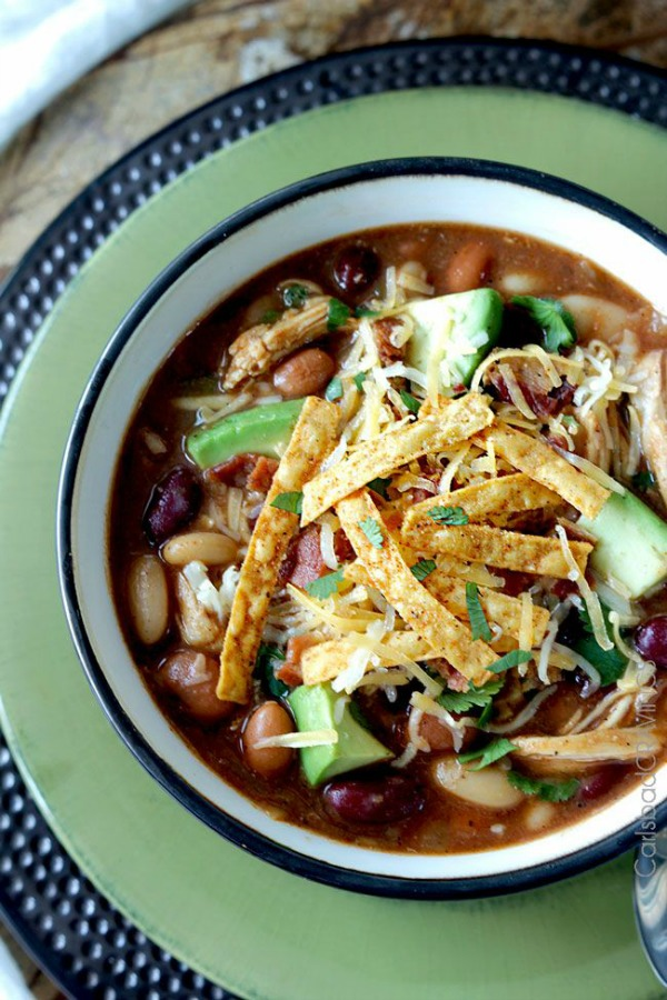 Sweet and Smoky BBQ Chicken Chili (Slow Cooker or Stove Top) from carlsbadcravings.com on foodiecrush.com