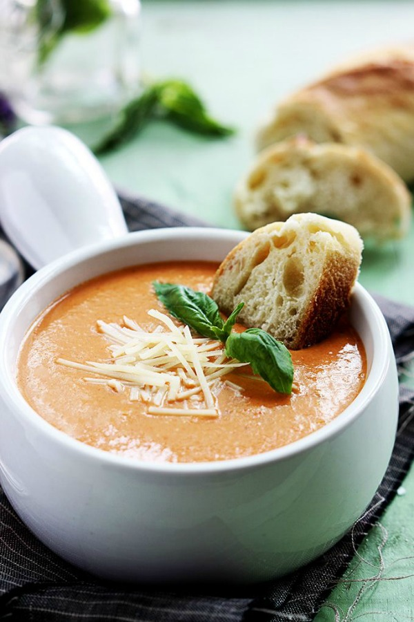 Slow Cooker Tomato Basil Parmesan Soup from lecremedelacrumb.com on foodiecrush.com