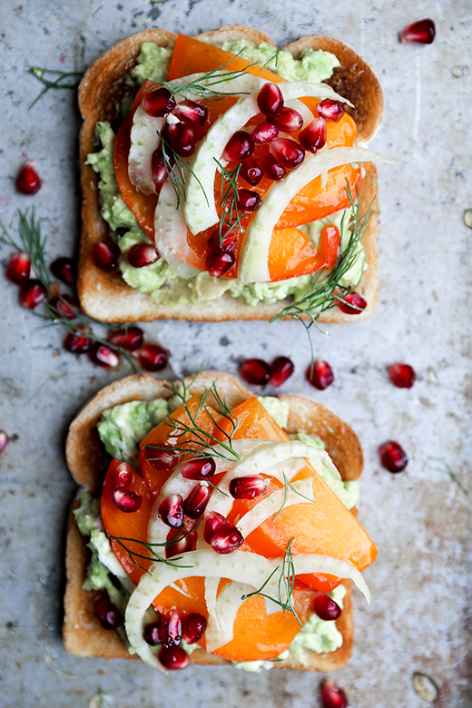 Avocado Toast with Persimmon, Pomegranate and Fennel by Floating Kitchen on foodiecrush.com