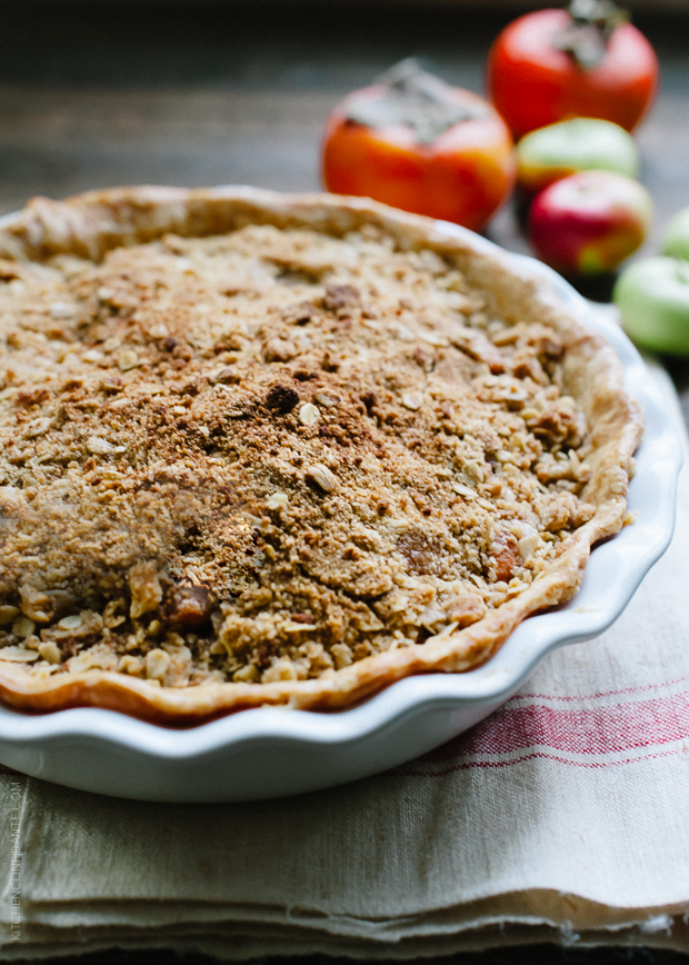 Persimmon Apple Crumb Pie by Kitchen Confidante on foodiecrush.com