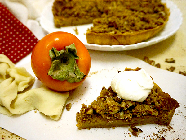 Persimmon Pumpkin Tart with Streusel Top by Suitcase Foodist on foodiecrush.com